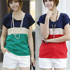 Women Fashion Casual Loose Colors Collision Short Sleeve T-Shirt Tops Blouse New