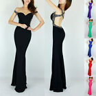 SEXY Backless Formal Party Evening Fishtail Bridesmaid Maxi Prom Dress 6 8 10 +