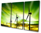 Landscapes Wind turbines eco TREBLE CANVAS WALL ART Picture Print VA