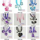 k004m32 Silver Plate Animal Flora Rhinestones Pendant Silk Necklace Earrings Set