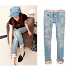 New Women Casual Jeans Trousers Blue Washed Style Rips Dots Straight Type Pants