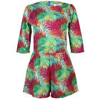 New Ladies 3/4 Sleeves Womens Summer Tropical Print Light Party Romper Size 6-12