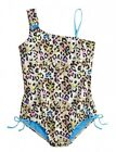 NWT Justice Girls Neon Leopard Asymmetrical Swimsuit U Pick Plus Size Husky NEW