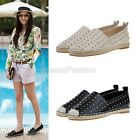 Womens Ladies Celeb Style Real Leather Studded Plimsole Pumps Loafers Shoes B221