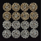20pcs 20mm Shiny metal crystal rhinestone button Flat DIY buttons silver/Gold