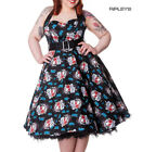 HELL BUNNY Floral 50s DRESS Blue Rockabilly GEISHA All Sizes