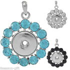 1PC Charm Pendant Round Flower Fit Snap Buttons Rhinestone M2924