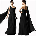 Long Flowing Formal One Shoulder Ball Gown Braidsmaid Evening Dress Black