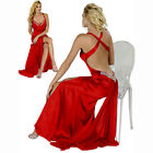 Hot & Sexy Satin Beaded Formal Evening Party Prom Dress Night Ball Gown Scarlet