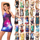 Women's Graphic Printed Stretch Bodycon Sleeveless One-Piece Tank Cocktail Dress