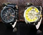 Trendy Synthetic Leather Strap Black Golden Dial Chronograph Men Wrist Watch