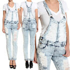 Themogan Distressed Acid Washed Denim Overalls - Vintage Ripped Skinny Jeans