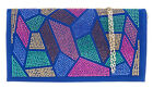 Mosaic Faux Leather Envelope Diamante Clutch Bag Gemstones Party Evening Elegant