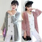 WOMENS HOODED WINTER CARDIGAN SWEATER KNITTED COAT KNITWEAR GREY RED New BF00