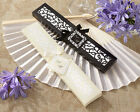 24 PERSONALIZED Luxurious Silk Fans in Elegant Gift Box Wedding Favors