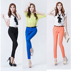 Women Career OL Casual Candy Color Skinny Slim Pencil Pants Trousers With Belt
