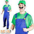 1980s Green Plumber Mens Fancy Dress Super Mario 80s Game Adults Luigi Costume