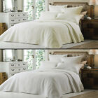 LUXURY EMBROIDERED CREAM WHITE QUILTED BEDSPREAD BED  QUILT THROW COVER NEW
