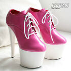 20cm Extreme Platform Heel Fetish Oxford Laceup Ankle Bootie Patent Hot Pink PVC