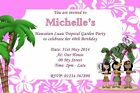 Personalised Hawaiian Luau Tropical Party Invitations Birthday Garden Party Pink