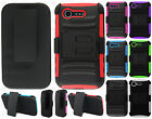 For Lg Optimus Fuel L34C Combo Holster HYBRID KICKSTAND Rubber Case Phone Cover