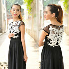 Fashion Women's Chiffon Lace One-piece Dress Summer Flowers Waist Casual Dress