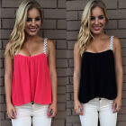 Summer Women's Chiffon Sexy Spaghetti Strap Loose Tops Crop Vest Shirt Blouse