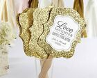 Set of 12 Personalized Gold Glitter Hand Fans Outdoor Wedding Favors