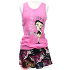 Betty Boop Pajama Set Oohlala Tank Top Short Pants 2pc Set Pink Black -4 Size $19.99 USD
