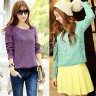 Vintage Patterned Womens Long Sleeve Casual Loose Pullover Knitted Sweater Top B