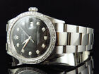 Mens Rolex 36 MM Datejust Oyster Stainless Steel Black Diamond Watch 2.15 Ct