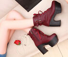 Womens Motorcycle mid calf boots Black high platform block heels lace Up strappy