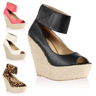 New Ladies Espadrille Womens Peep Toe Summer Wedges High Heels Shoes Size 3-8
