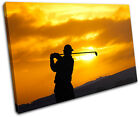 Golf Sunset Sports SINGLE CANVAS WALL ART Picture Print VA
