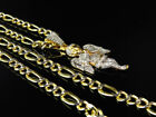10K Yellow Gold Diamond Cut  Figaro Style Box Chain Necklace 5.0 mm 18-24 Inches