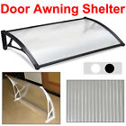 Door Canopy Solid Roof Front Back Outdoor Rain Awning Porch Shelter Black/White