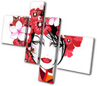 Fashion Floral Girl MULTI CANVAS WALL ART Picture Print VA