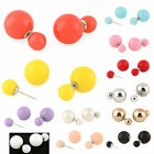 Fashion Korean Lovely 1 Pair Candy Color Round Screw Back Pierced Stud Earrings