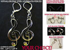 Artisan TREBLE CLEF Large *CHOOSE TYPE* Music Note Pierced OR Clip On Earrings
