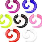 Acrylic Spiral Fake Cheater Ear Taper Stretcher Expander  CHOOSE SINGLE OR PAIR