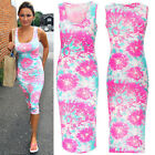Neon Pink Floral Dress Midi Casual Women Summer Beach Sleeveless Maxi Bodycon