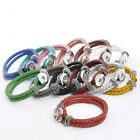1PC Snap Button Bracelet Real Leather Braided Rope DIY M2575