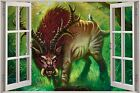 Huge 3D Window Fantasy Evil Animal Creature View Wall Stickers Decal Mural