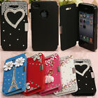 3D Luxury Bling Crystal Diamond Floral PU Leather Hard Case For iPhone 4 4G 4S