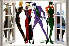 Huge 3D Window view Childrens Fairytale Batman Joker Catwoman Sticker Mural