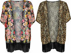 New Plus Size Womens Floral Animal Print Lace Open Ladies Kimono Top 16 - 26
