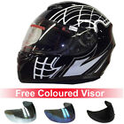 Leopard LEO-819 Full Face Scooter Motorbike Motorcycle Crash Helmet Black Cobweb