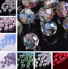 Wholesale 50/200pcs 6mm Faceted Round Glass Crystal Findings Loose Spacer Beads