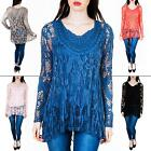 New Womens Ladies Two Layer Italian Long Sleeve Lagenlook Lace Top Size S M L