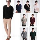 2014 V Neck Pullover Winter Mens Cashmere Jumper Comfy Casual Wool Sweater S-XXL